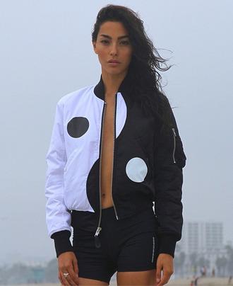 jacket yin yang black white cute coat yin yang