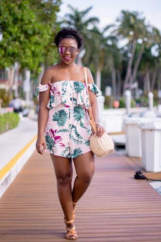 pinksole blogger sunglasses jewels romper shoes bag nude bag shoulder bag sandals spring outfits jewelry gold gold necklace gold jewelry necklace crescent pendant horn