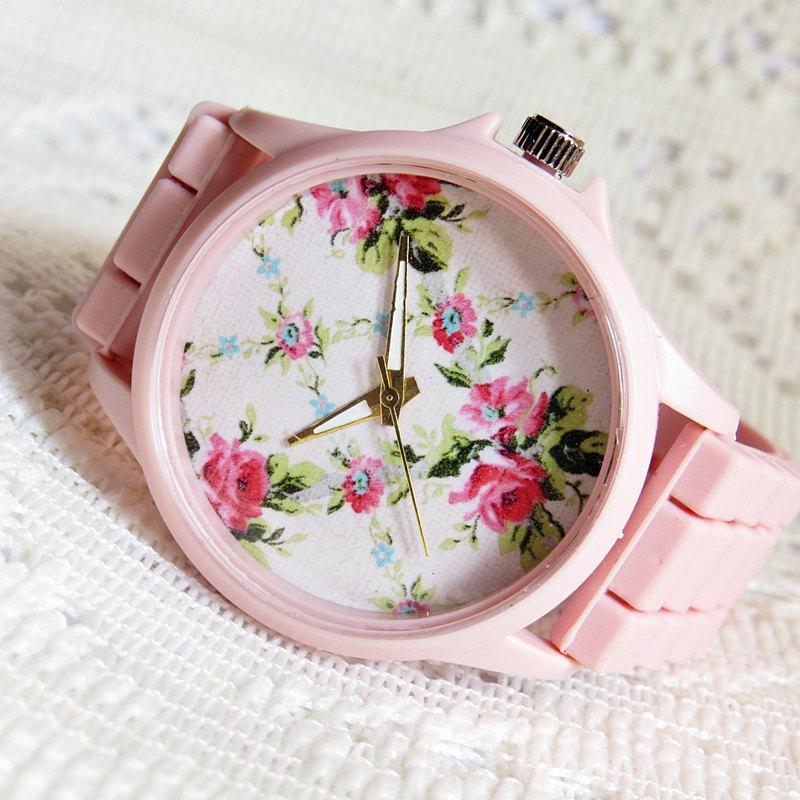 Pretty in Pink Floral Watch, Women Watches, Fashion Watch, Boyfriend watch, Limited