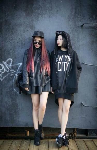 buttons jacket balck streetwear