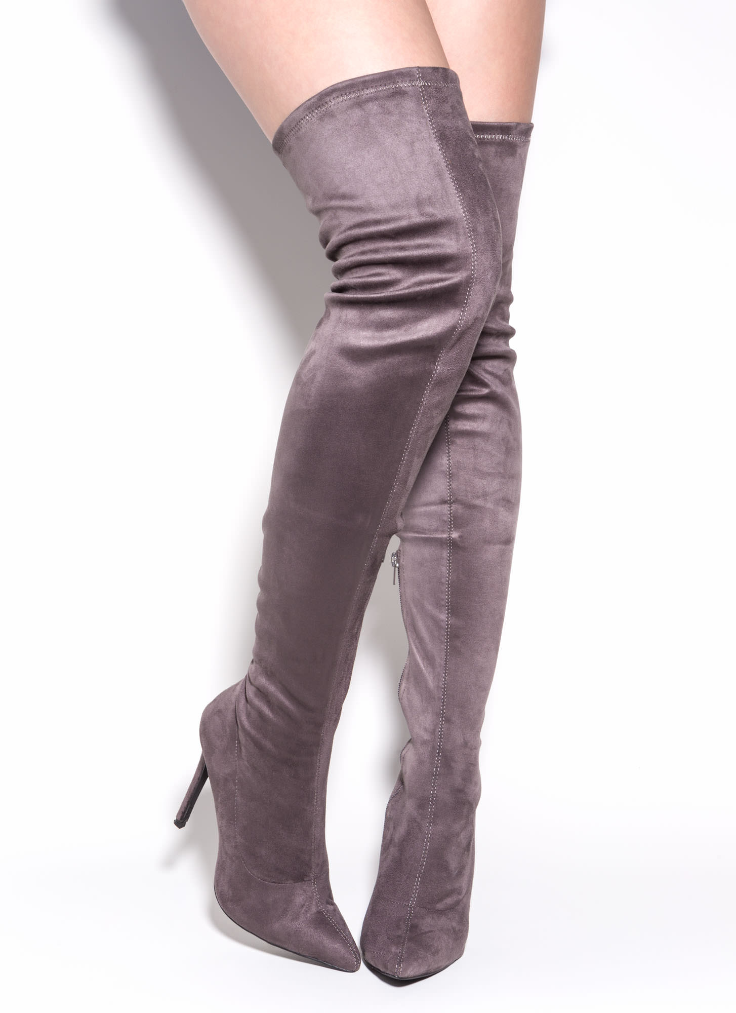 Story Chic Thigh-High Boots MAROON TAUPE OLIVE BLACK GREY - GoJane.com