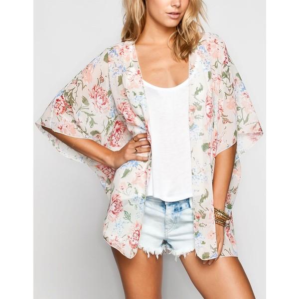 LOTTIE & HOLLY Floral Print Womens Kimono - Polyvore