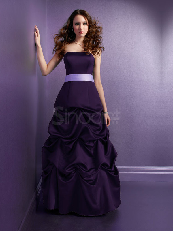 dress grape elastic woven satin dress for prom and evening party strapless and sleeveless