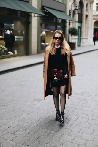 caroline louis pardonmyobsession blogger coat shoes bag skirt tights ankle boots winter outfits ysl bag trendy