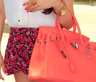 bag shorts blouse flowers pink skirt idk lovely ariana grande flowered shorts fashion shorts