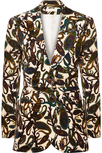 Chloé - Printed cotton-blend velvet blazer