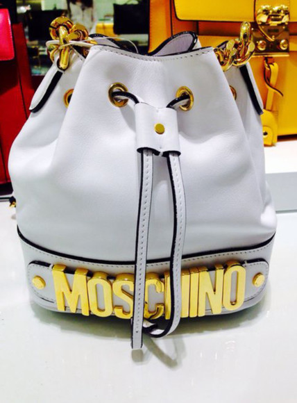 leather white bag moscino fab rich gold
