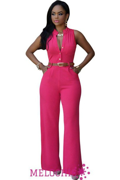 5ed06642698 jumpsuit melochic hotpink belted jumpsuit black jumpsuit pink jumpsuit lace  up jumper jumper black dress dress