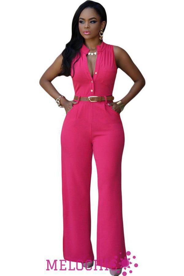 Jumpsuit: melochic hotpink belted jumpsuit, black jumpsuit, pink ...