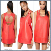 dress,leather dress,cut-out,bad girls club,leather,red dress,summer,swimwear,shirt,flowers