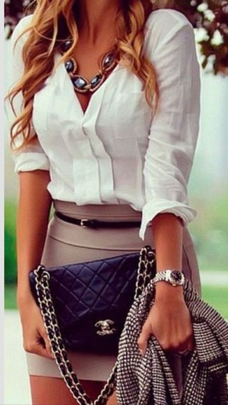 taupe blouse white blouse bodycon skirt silk casual stylish