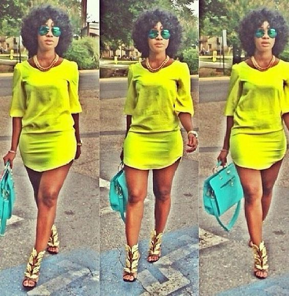 dress shirt dress fashion spring fashion lime green dress short dress neon dress summer outfits tshirt dress blogger chic swag dope fashionista shopaholic summer fashion midi dress neon colors bright colors followme followforfollow followmyinstagram findthis bodycon summer dress shoes jewels sunglasses