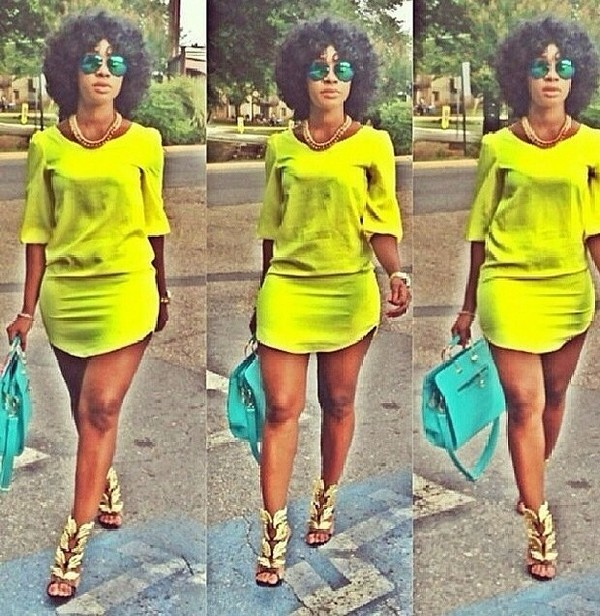 dress neon dress lime green dress summer outfits short dress shirt dress t-shirt dress blogger chic fashion swag dope fashionista shopaholic spring outfits summer outfits midi dress neon colors bright followmyinstagram findthis bodycon summer dress shoes jewels sunglasses