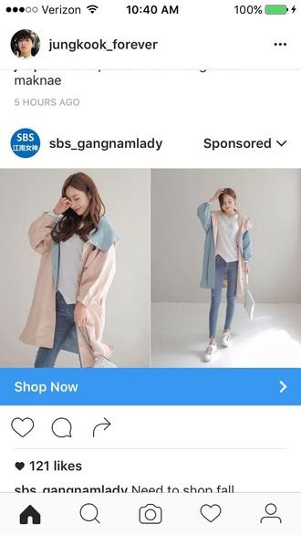 jacket oversized jacket reversable jacket pink blue coat long jacket rain coat long coat