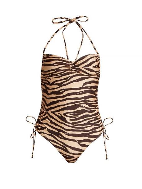 Zimmermann - Juniper Tiger Print Ruched Swimsuit - Womens - Brown Multi