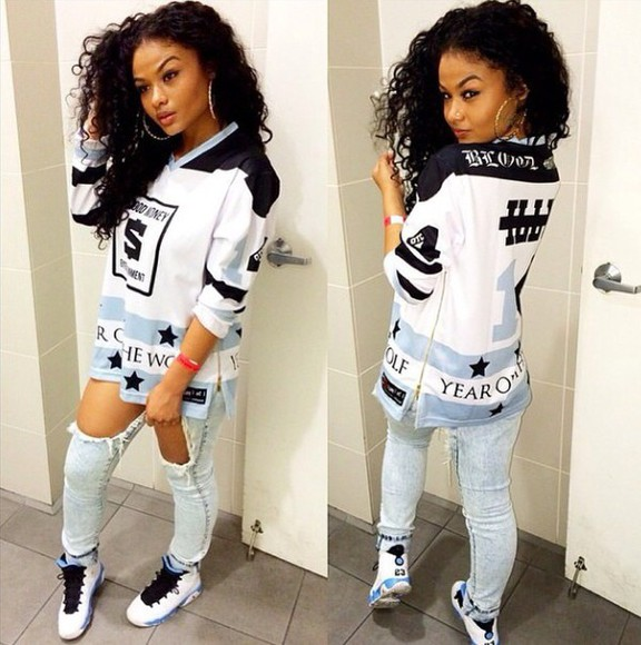 blue baby blue white t-shirt swag shirt jordans jordan 9 black stars stars and stripes trill india westbrooks