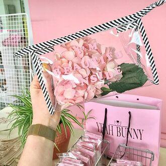 make-up yeah bunny bag makeup bag travel transparent