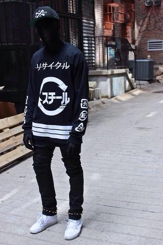 sweater goth ninja street goth blvck fashion dark pants menswear shirt classy black mens cap health goth cyber ghetto top all black everything