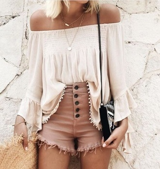 shirt shorts dusty pink nude ripped shorts frayed denim pink shorts sun hat peasant top straw hat mini bag all nude everything button up summer holidays summer outfits summer accessories off the shoulder top