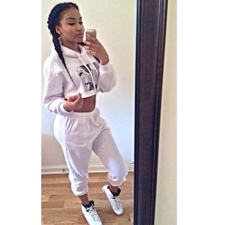 top white long sleeve crop top jumpsuit all black everything bad bitches link up instagram famous bratz doll the perfection mixed girl shoes
