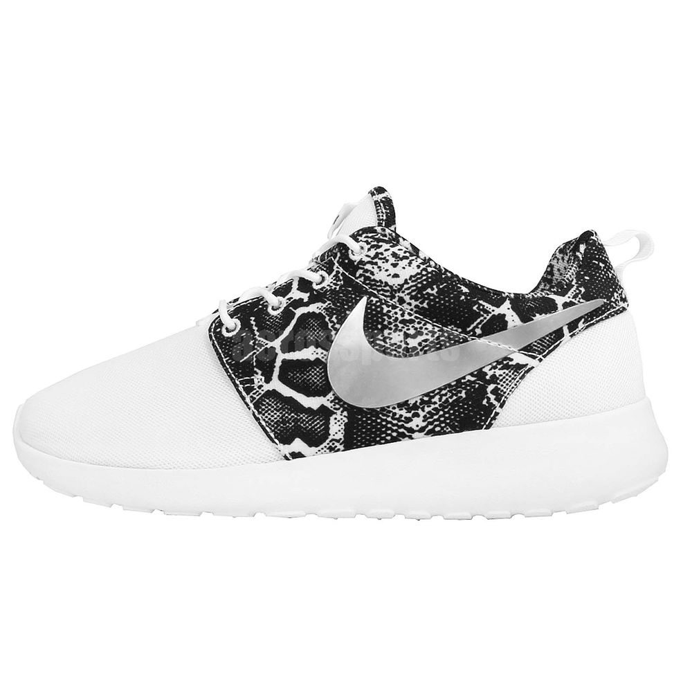 4fb7afa11cd4e Wmns Nike Roshe One Print Snakeskin White Silver Womens Running Shoes  599432-103