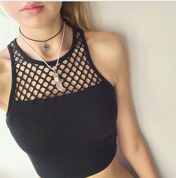 black crop tops tank top