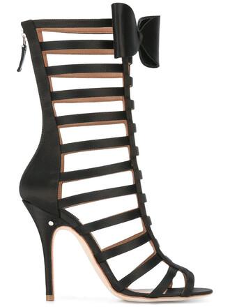 women sandals leather black silk shoes