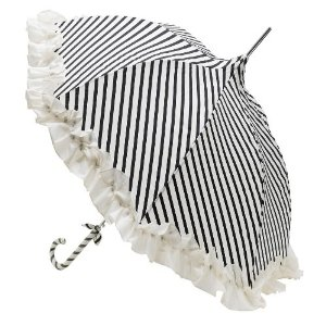 Amazon.com - Lisbeth Dahl Cream and Black Striped Umbrella - Parasols Black
