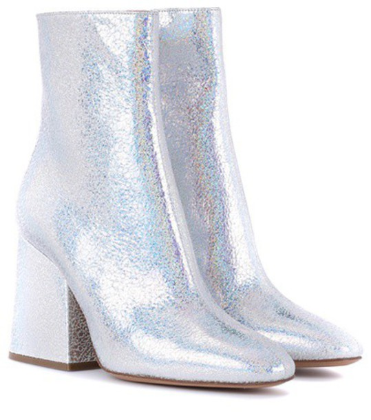 MAISON MARGIELA leather ankle boots metallic ankle boots leather silver shoes