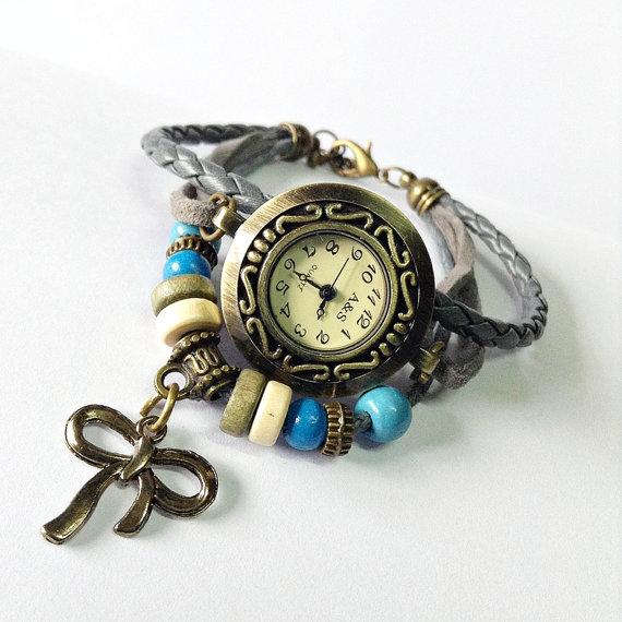 Wrap watch bracelet vintage style leather watch  by freeforme