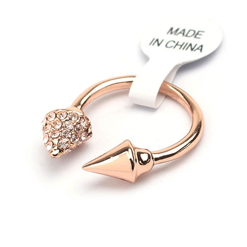 Gold Sagittate With Rhinestone Inlaid At One End Fashion Opened Ring - DualShine