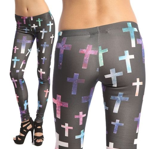 MOGAN Cross Galaxy Printed Spandex Leggings | eBay