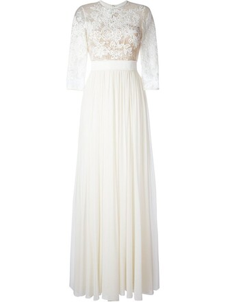 gown pleated embroidered nude dress