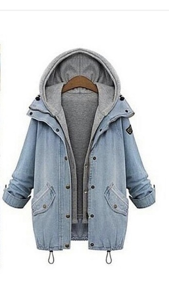 coat denim jacket hoodie denim hoodie coat pretty cool celebs grey denim blue instagram hoodie coat