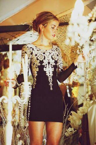 dress black gold detailed bodycon design elegant fashion long sleeve dress