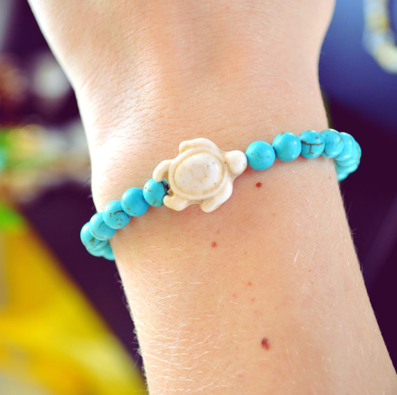 Turtle Bracelet Nautical Turtle Arm Candy Bohemian Bracelet Beach Turtle Jewelry Beaded Boho Hippie Arm Candy Boho Turtle Stretchy Bracelet