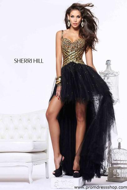 dress sherri hill gold sequins tulle skirt