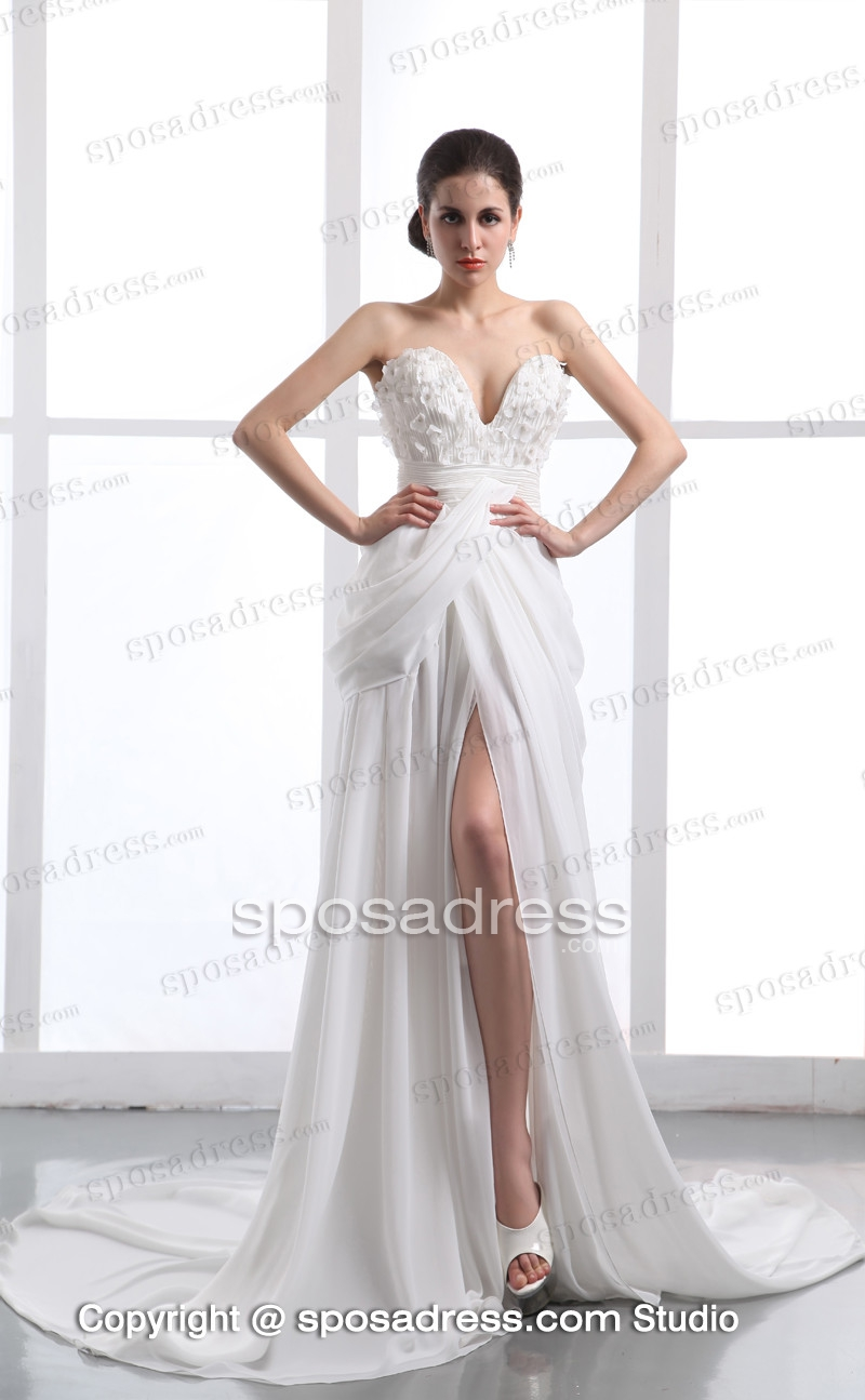 2013 White Sexy A-line Sweetheart Chiffon Long Women Evening Dress - Sposadress.com