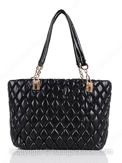 Black Quilted Embellished PU Leather Shoulder Bag - HandpickLook.com