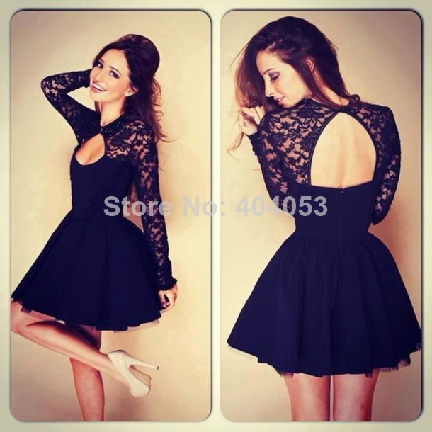 Top Selling !The most Beautiful Dress 2014 Ball Gown High Neck Long Sleeves Lace Knee Length Black Evening Dresses TP15 -in Evening Dresses from Apparel & Accessories on Aliexpress.com