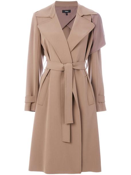 theory coat women draped brown