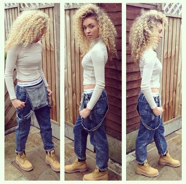 9712f2b0084f jeans blouse jumpsuit shirt cream long sleeves turtleneck white top denim  overalls