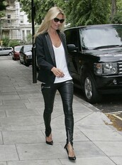 kate moss,leather,black pants,pants,jacket