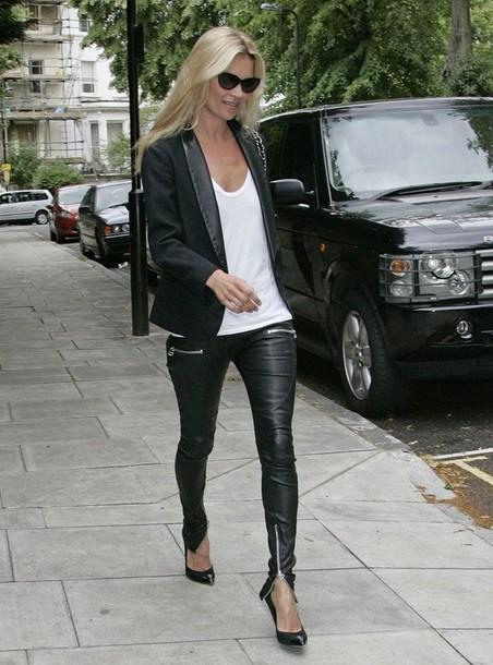 kate moss leather black pants