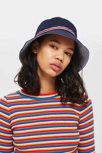 sporty hat bucket hat navy blue