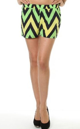 Amazon.com: Pinkclubwear Chevron Print Elastic Waist Side Pocket Shorts-Green-Medium: Clothing