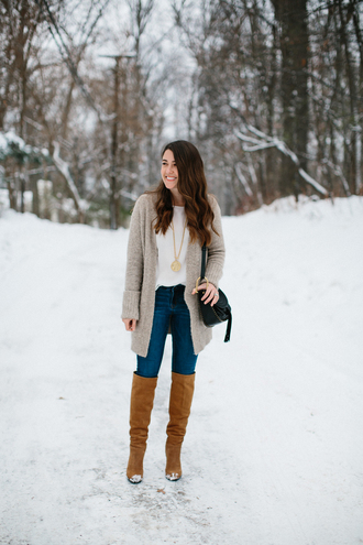 sequins and stripes blogger jewels cardigan shoes bag winter outfits knee high boots grey cardigan shoulder bag