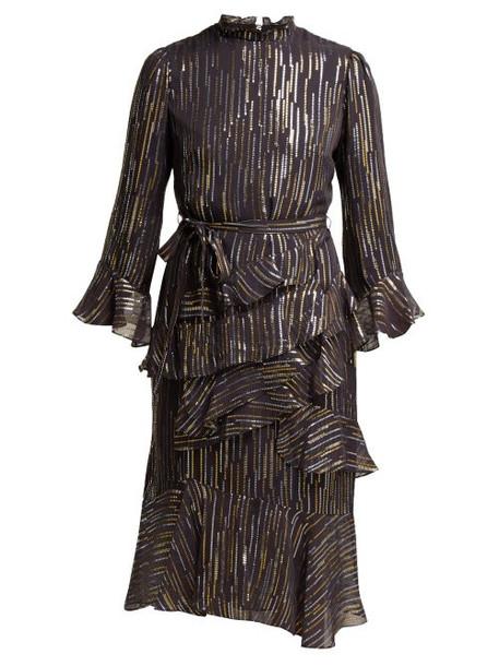 Saloni - Marissa Fil Coupé Silk Blend Georgette Dress - Womens - Black Gold