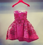 dress,pink embroidered