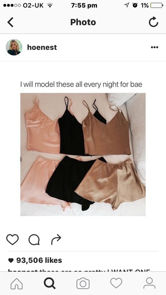 nude black tumblr singlet pajamas pink gold two-piece silk underwear silk underwear blush pink satin sexy tank top cute comfy silky pajamas silk shorts pyjamas silk pajamas pajama shorts